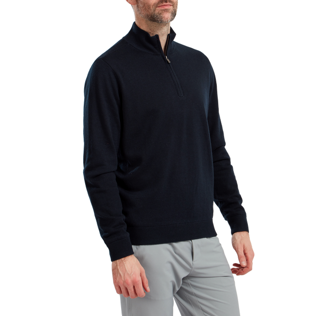 Wool Blend 1/2 Zip Lined Pullover